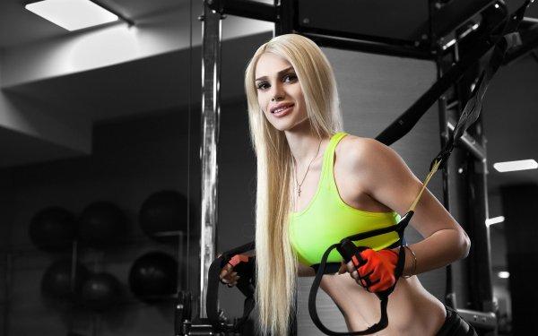 Women Model Models Blonde Brown Eyes Fitness HD Wallpaper   Background Image