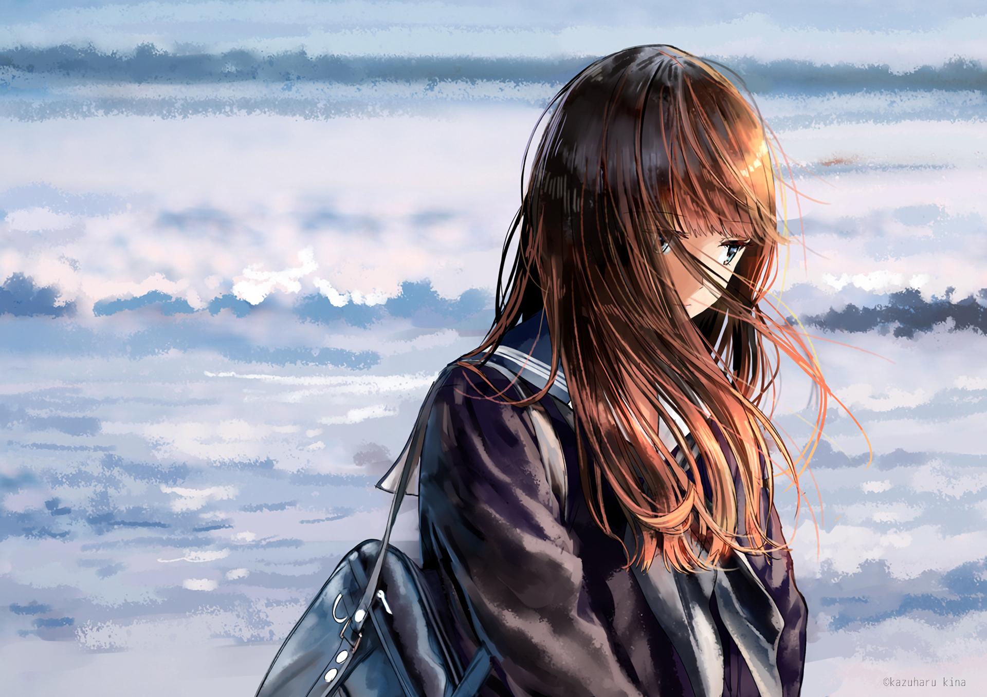 Anime - Original  Girl Brown Hair Long Hair School Uniform Wallpaper