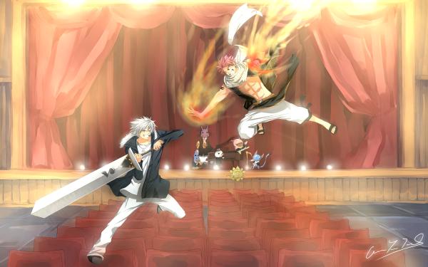 Anime Crossover Natsu Dragneel Happy Plue Fond d'écran HD | Image