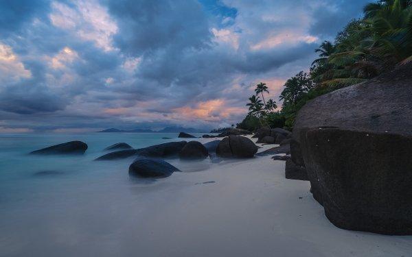 Tierra/Naturaleza Playa Seychelles Nube Rock Palmera Océano Sea Horizon Fondo de pantalla HD | Fondo de Escritorio