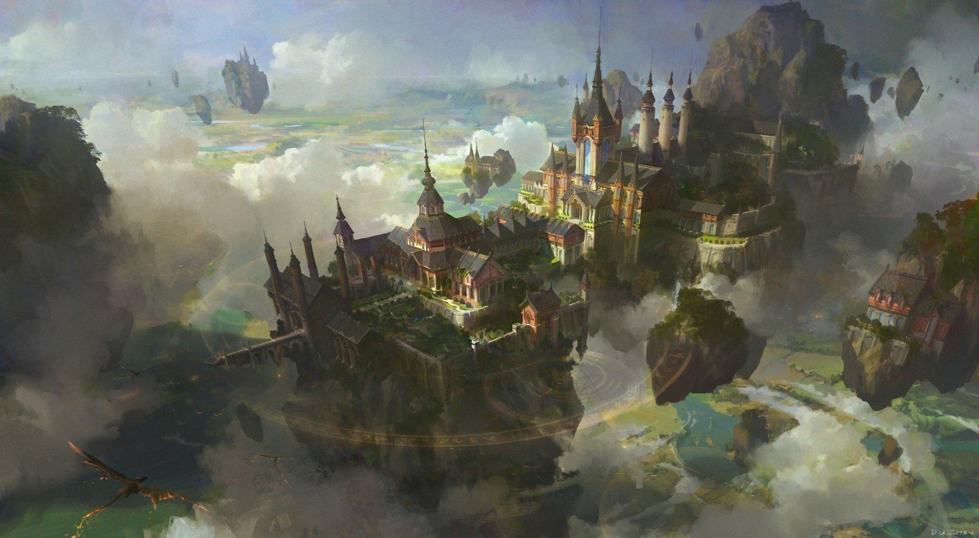 奇幻 - 城市  Floating Island 建筑 风景 云 壁纸