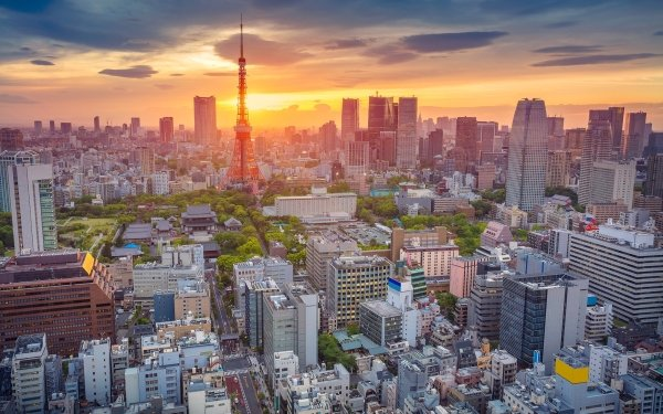Man Made Tokyo Cities Japan City Cityscape Building Skyscraper Sunset Tokyo Tower HD Wallpaper | Background Image