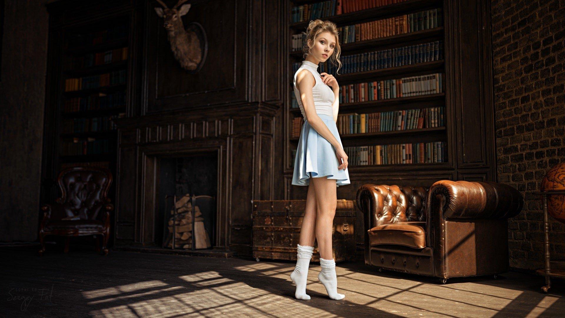 Women - Alice Tarasenko  Woman Model Girl Skirt Blonde Library Fireplace Wallpaper