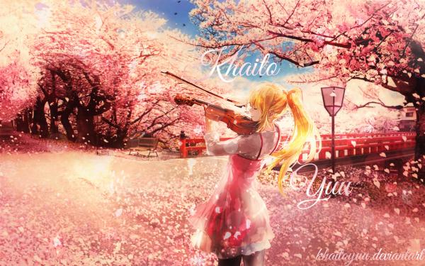 Anime Your Lie in April Kaori Miyazono Sakura Violin HD Wallpaper | Background Image