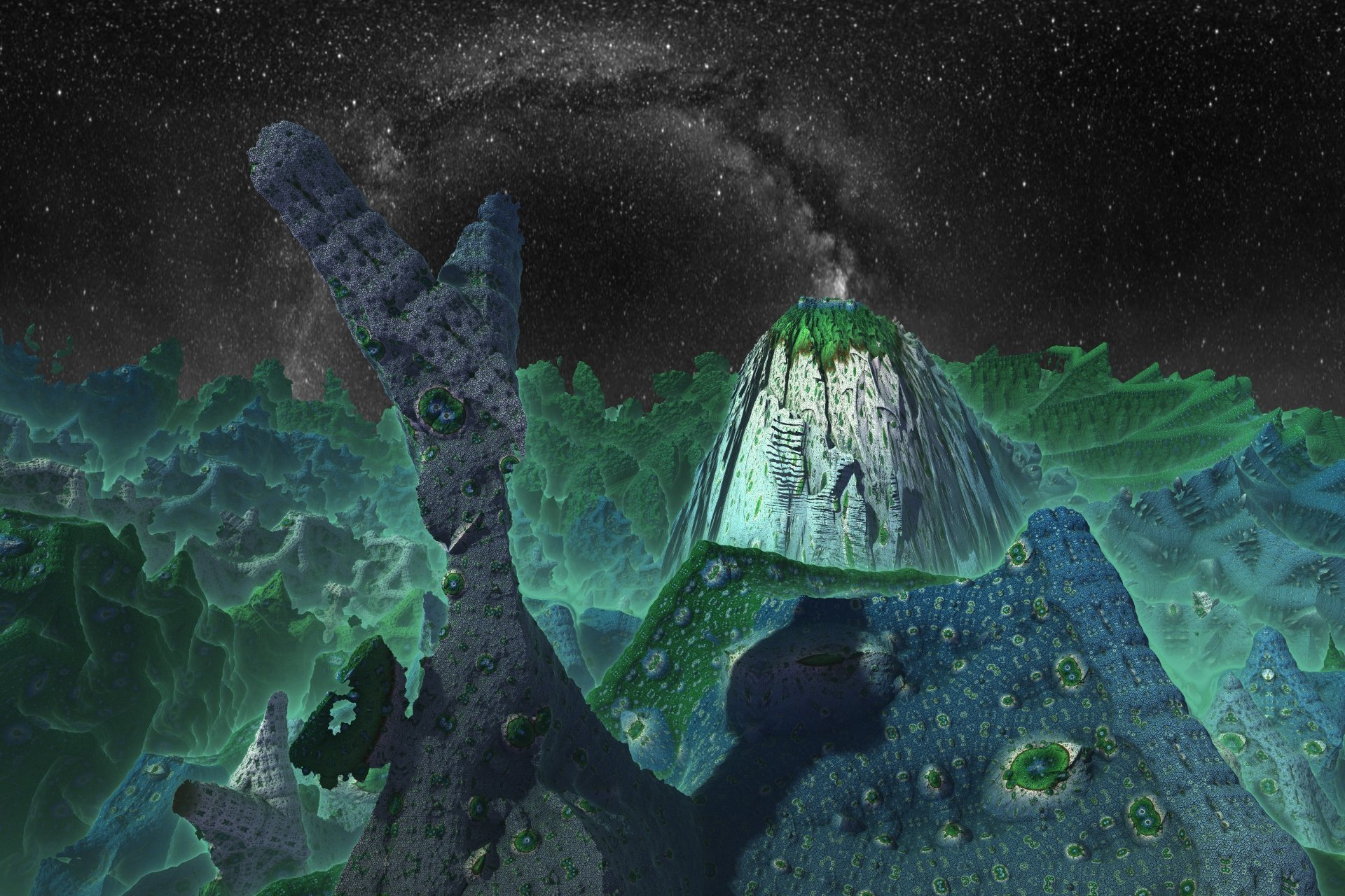 Abstract - Fractal  3D Abstract Artistic Digital Art Mandelbulb 3D Green Space Night Landscape Mountain CGI Wallpaper