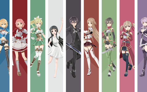 Computerspiele Sword Art Online: Hollow Realization Sword Art Online Asuna Yuuki Kirito Silica Leafa Yui Strea Lisbeth HD Wallpaper   Hintergrund