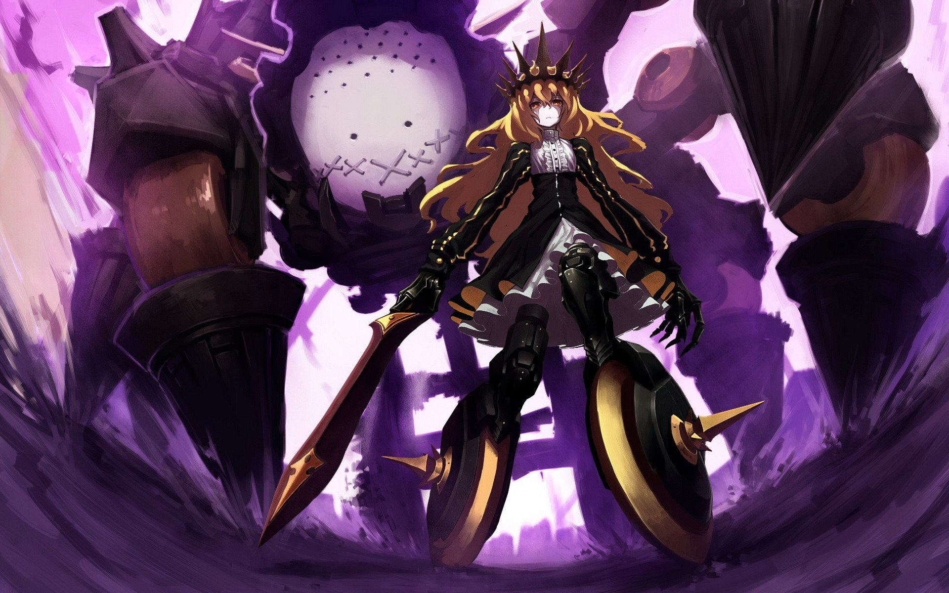 anime masamune shooter rock manga shirow dress wallpapers chariot weapons blondes claws sciencefiction background desktop orange purple wall wallpoper alphacoders