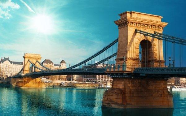 Man Made Chain Bridge Bridges Hungary Bridge Budapest Danube HD Wallpaper | Background Image