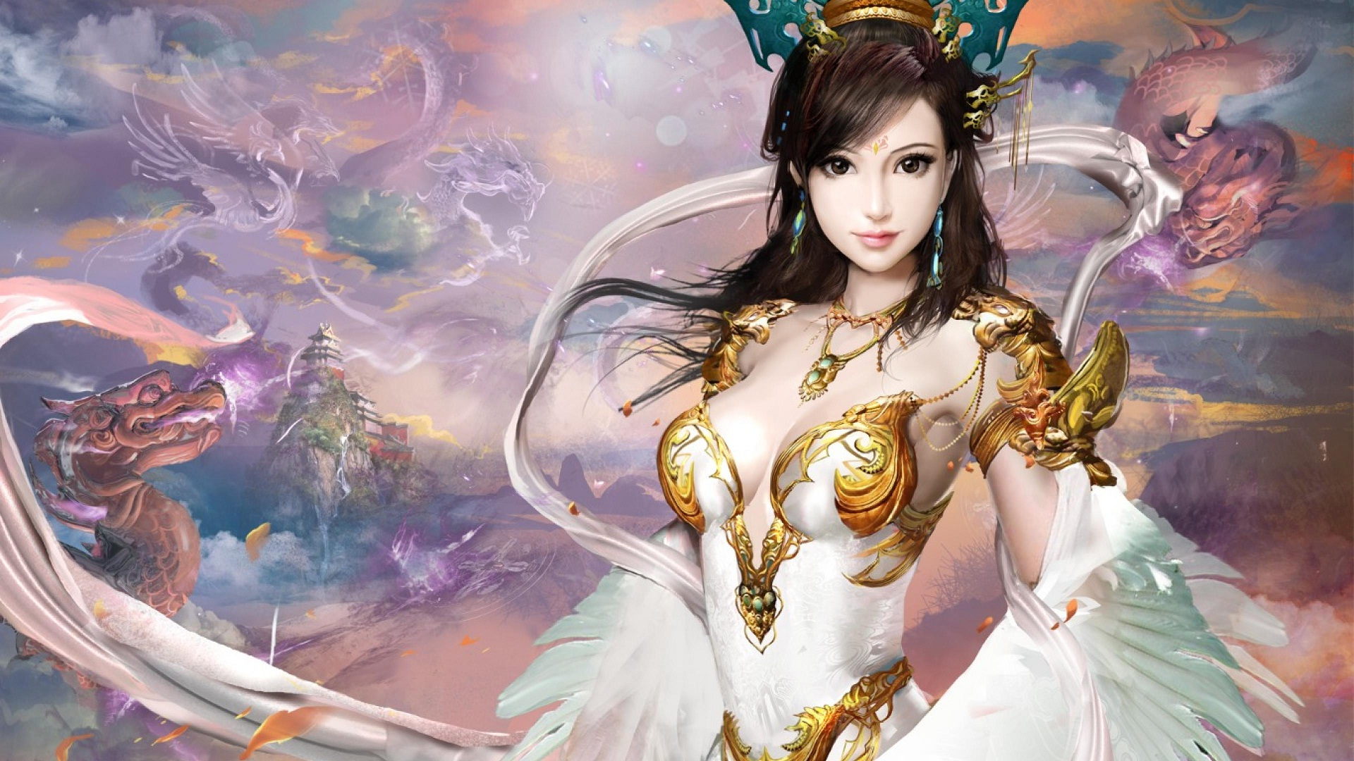 Fantasy girl full hd wallpaper and background image 1920x1080 id fantasy women fantasy woman girl dragon mountain oriental brown eyes brown hair angel wallpaper voltagebd