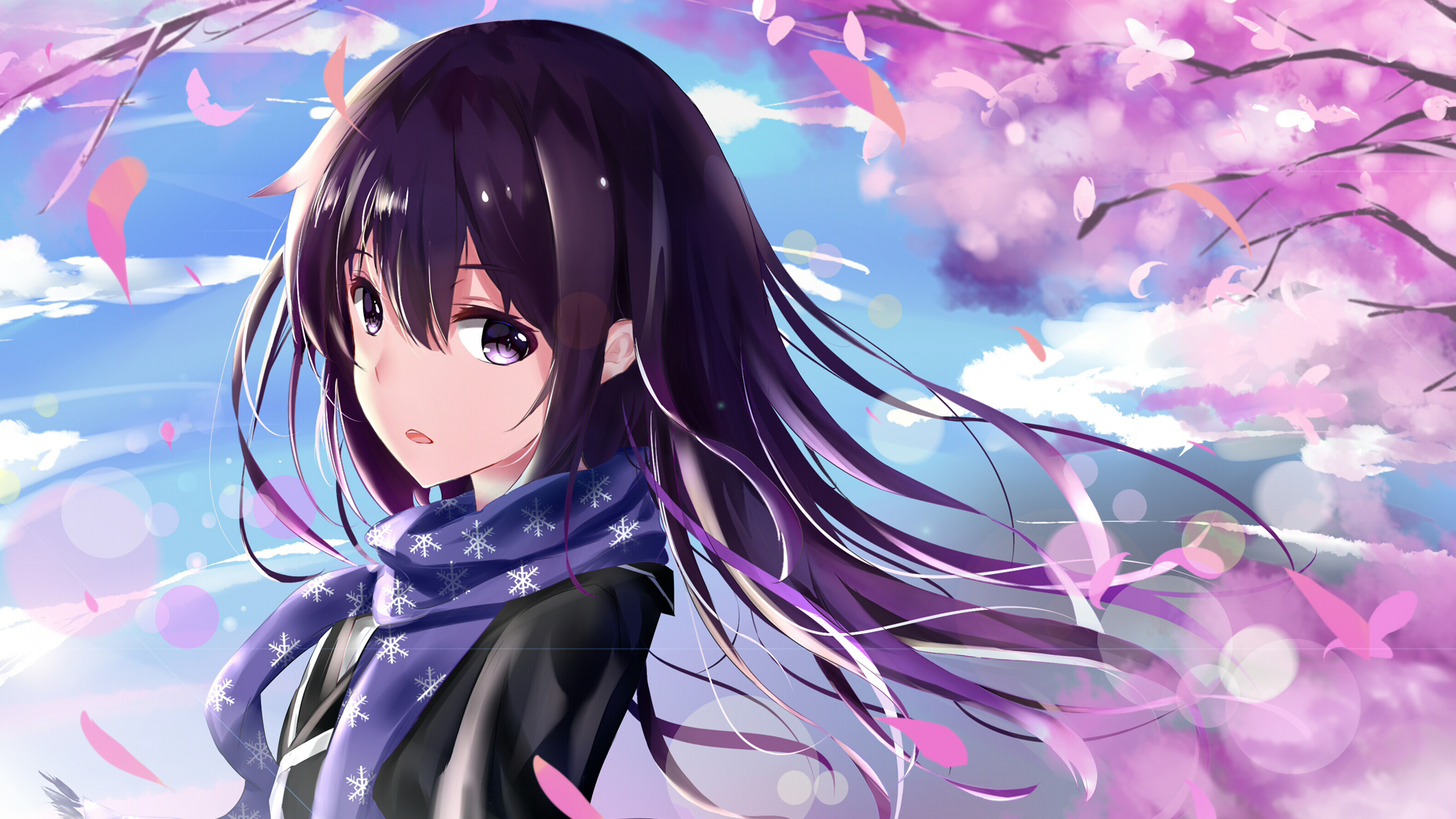 Anime - My Teen Romantic Comedy SNAFU  Yukino Yukinoshita Blossom Purple Hair Long Hair Scarf Purple Eyes Girl Wallpaper
