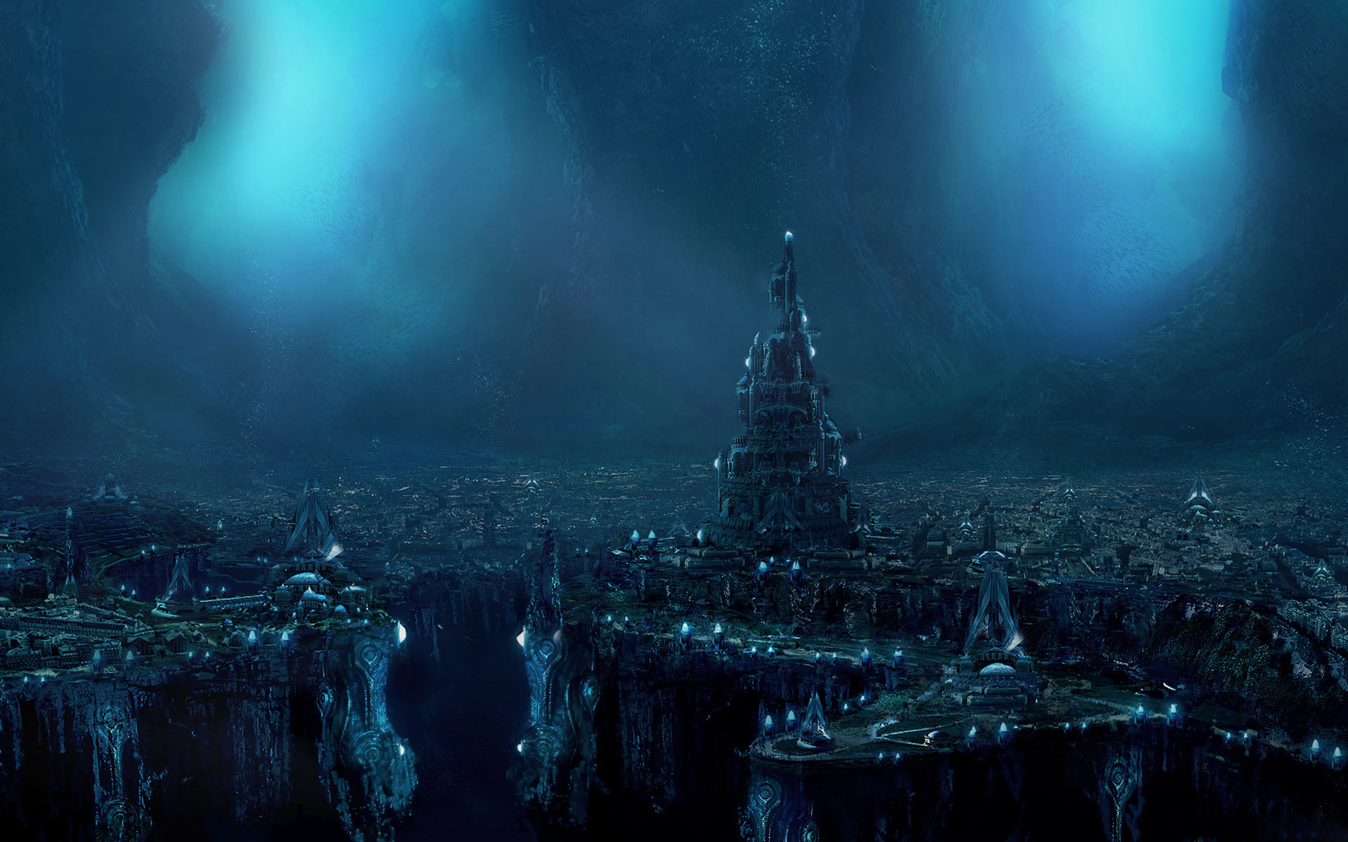 Sci Fi - City  - Dark - Atlantis - Landscape - Fantasy Wallpaper