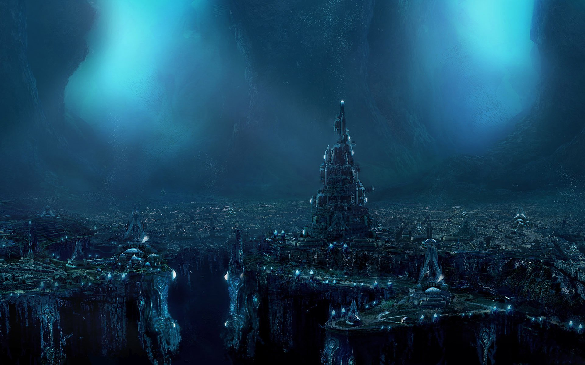 Sci Fi - City  Dark Atlantis Landscape Underground Fantasy Wallpaper