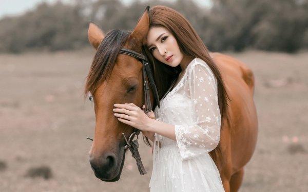 Femmes Asiatique Top Model Cheval Depth Of Field Brune White Dress Brown Eyes Fond d'écran HD | Image