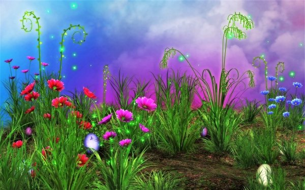 Holiday Easter Spring Grass Flower Artistic Bright HD Wallpaper | Background Image