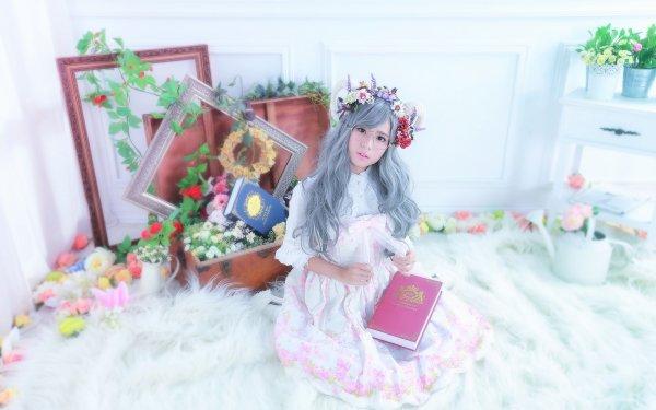 Women Asian Book Glasses Frame Flower Wreath Grey Hair HD Wallpaper | Background Image