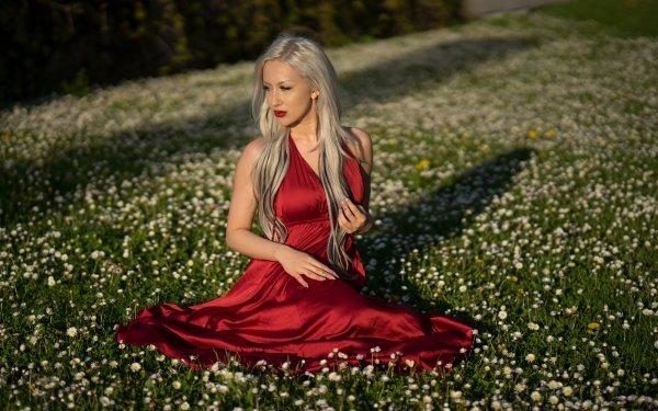 Women Model Models Blonde Lipstick Red Dress HD Wallpaper   Background Image