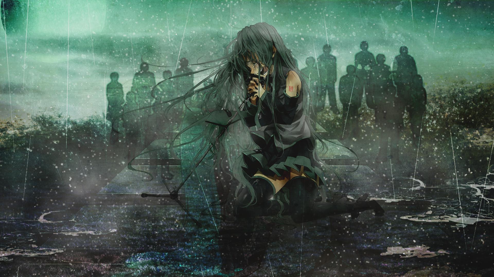 anime rain green wallpaper - photo #8