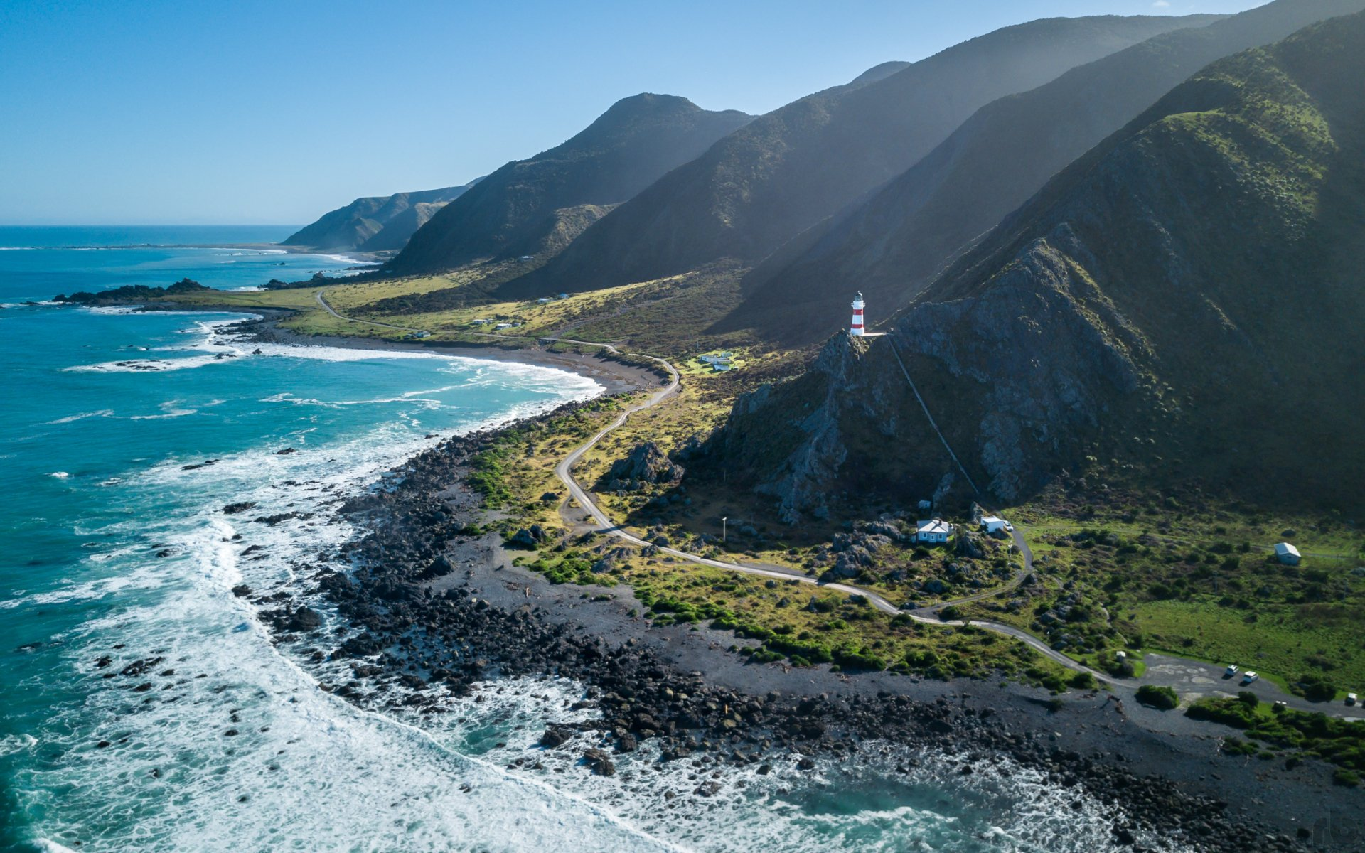 Earth - Coastline  North Island (New Zealand) New Zealand Landscape Mountain Road Lighthouse Ocean Foam Horizon Wallpaper