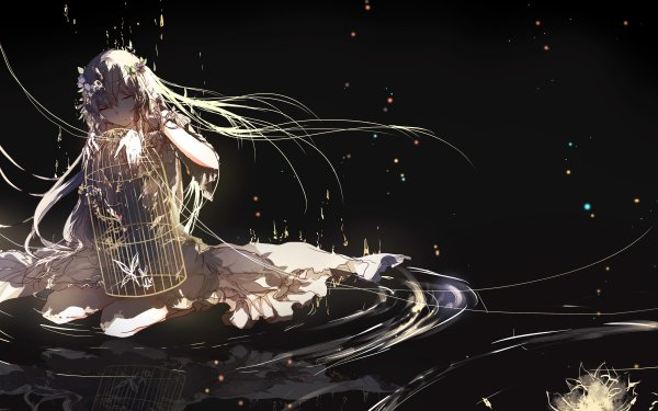 Anime Original Butterfly Cage Water Flower Long Hair Blonde Dress HD Wallpaper | Background Image