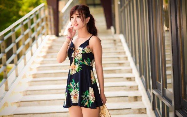 Women Asian Woman Model Dress Brunette Depth Of Field HD Wallpaper | Background Image