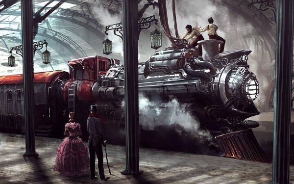 Sci Fi Steampunk Train Locomotive People Train Station HD Wallpaper | Background Image