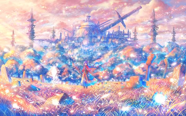 Anime Original Braid Building Purple Hair Tree Staff Sword Colorful Grass Cloud HD Wallpaper | Background Image