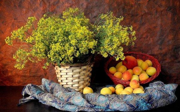 Photography Still Life Flower Basket Scarf Fruit Peach Nectarine Yellow Flower HD Wallpaper   Background Image