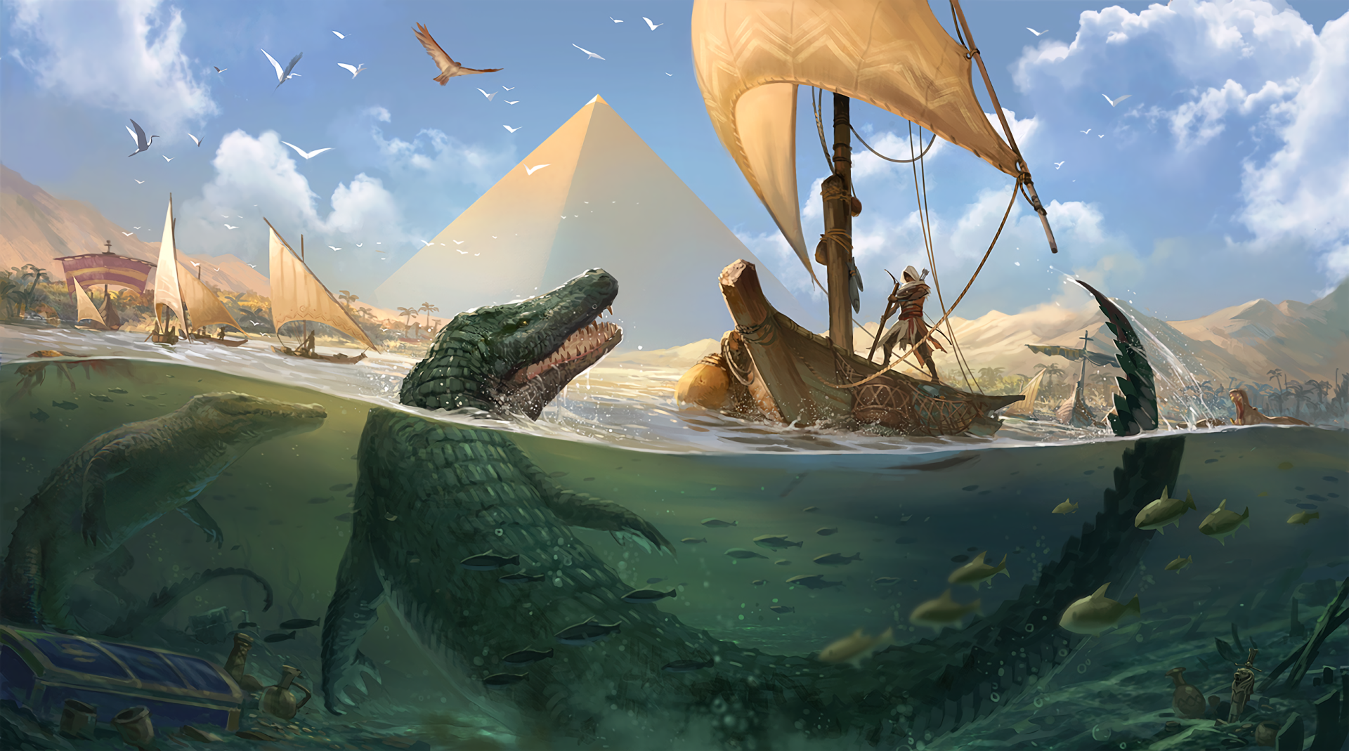 Video Game - Assassin's Creed Origins  Bird Crocodile Boat Bayek Of Siwa Wallpaper