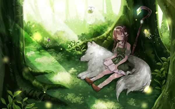 Anime Original Wolf Tree Fairy Flower Dress HD Wallpaper   Background Image