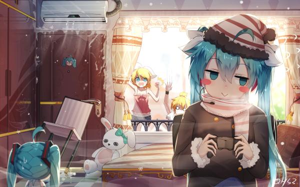 Anime Vocaloid Hatsune Miku Hachune Miku Rin Kagamine Len Kagamine HD Wallpaper | Background Image