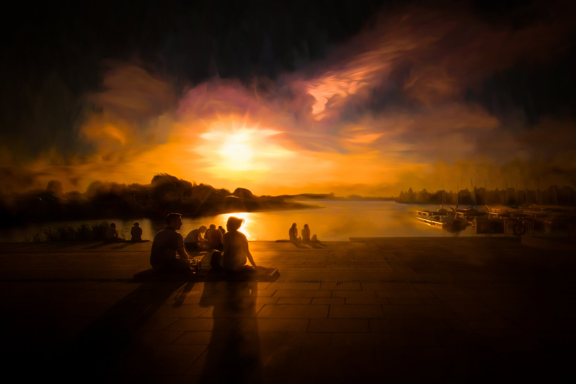 Photography - Sunset  Water People Sun Painting Wallpaper