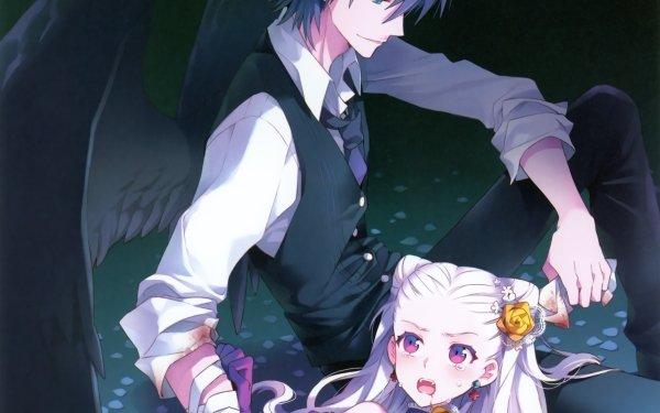 Anime Original Long Hair Short Hair Fangs Vampiro Wings Black Hair Glove Flor Tie Smile Blue Eyes White Hair Purple Eyes Earrings Bandage Fondo de pantalla HD | Fondo de Escritorio