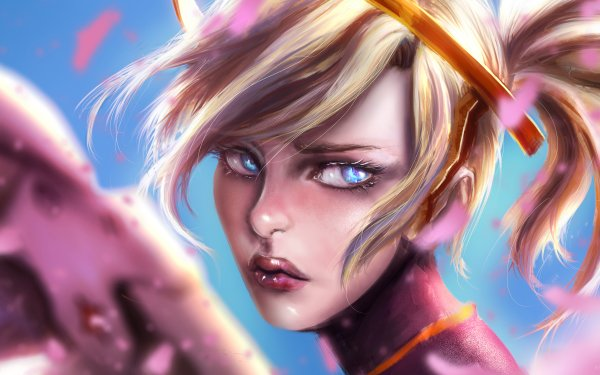Video Game Overwatch Mercy Face Blonde Blue Eyes HD Wallpaper   Background Image