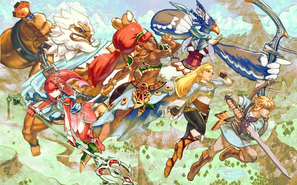 Video Game The Legend of Zelda: Breath of the Wild Zelda Link Mipha Daruk Revali Urbosa HD Wallpaper | Background Image