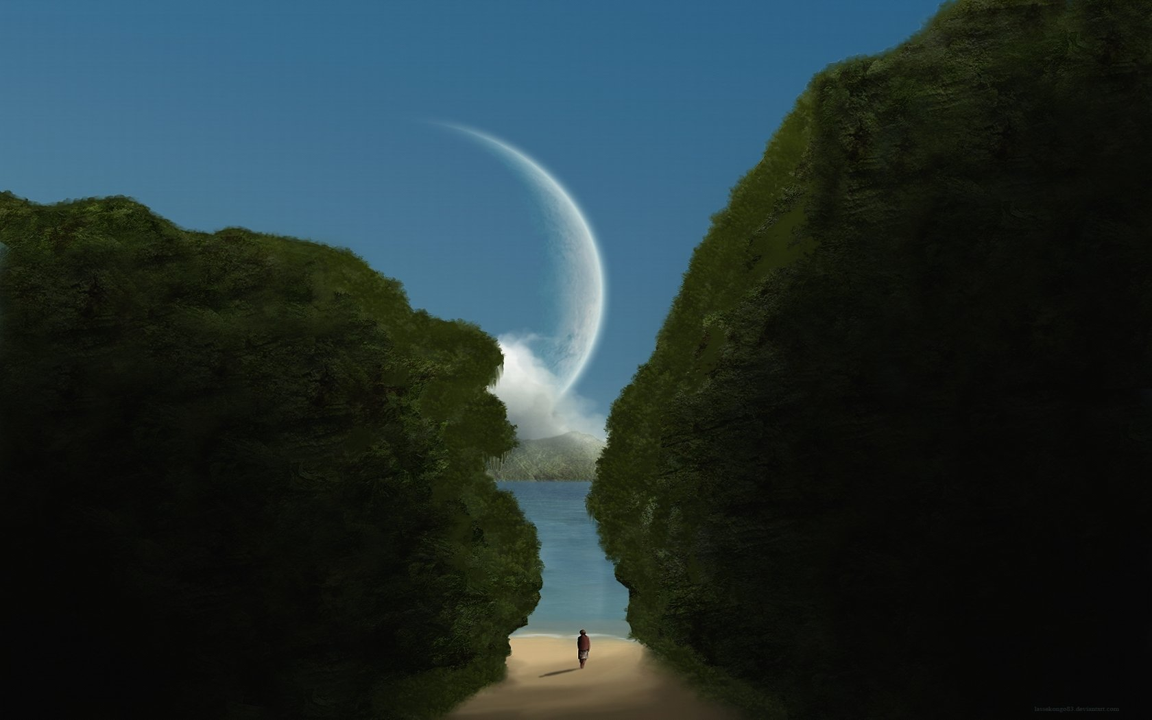 Artistic - Painting  Moon Water Artistic Wallpaper