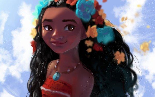 Movie Moana Moana Waialiki Black Hair Face Flower Brown Eyes HD Wallpaper | Background Image