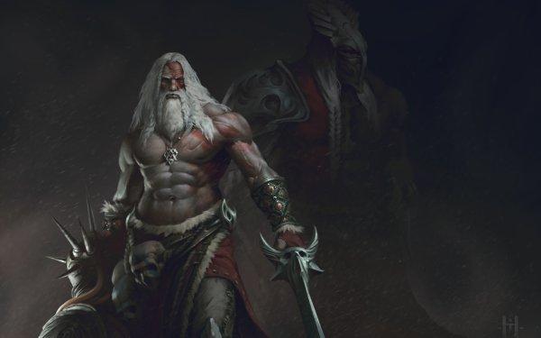 Fantasy Warrior White Hair Beard Sword Skull HD Wallpaper   Background Image