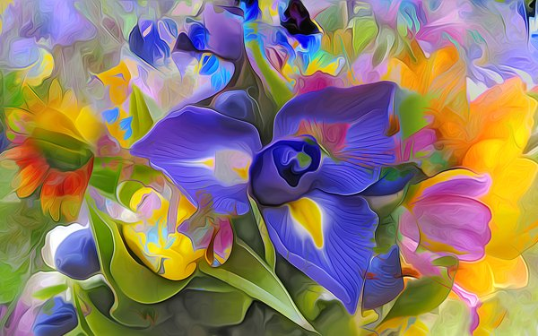 Artistic Painting Flower Colorful Iris HD Wallpaper   Background Image