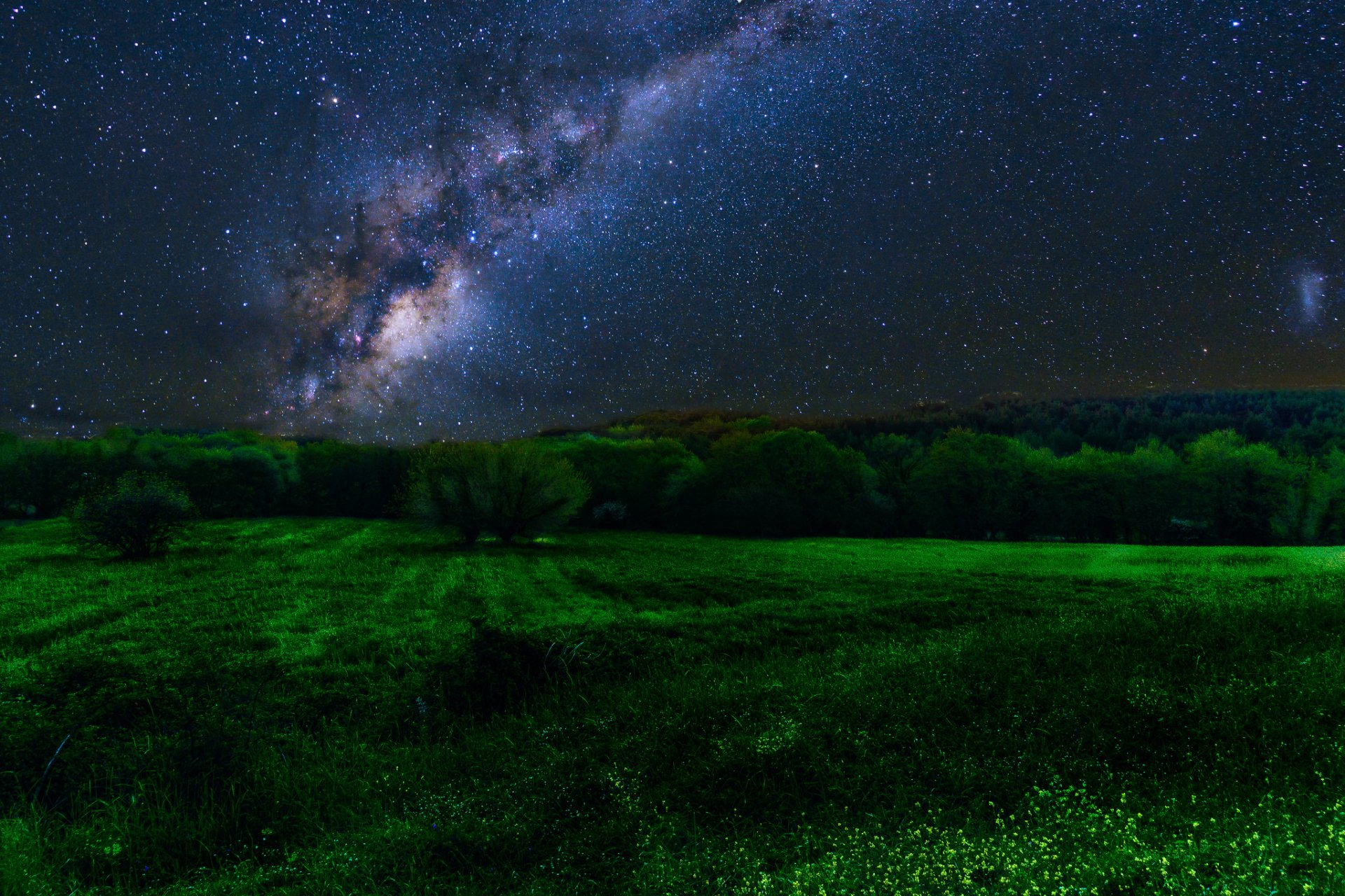 Earth - Night  Earth Sky Galaxy Milky Way Starry Sky Stars Field Green Wallpaper