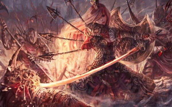 Fantasy Women Warrior Woman Warrior Pink Hair Armor Knight Sword Fight HD Wallpaper | Background Image