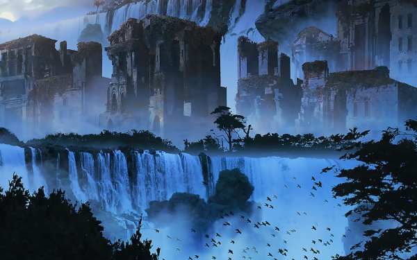 Fantaisie Waterfall Ruine Arbre Lune Oiseau Fond d'écran HD | Image