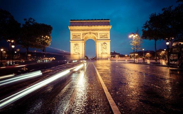 Man Made Arc De Triomphe Monuments Monument Paris Night Time-Lapse HD Wallpaper   Background Image