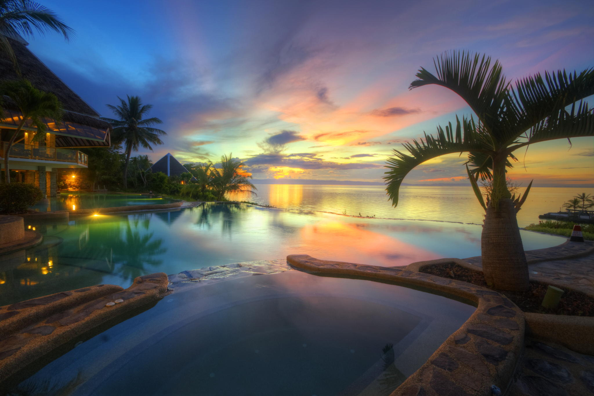 Man Made   Resort Tropical Pool Palm Tree Ocean Sea Sunset Horizon Wallpaper