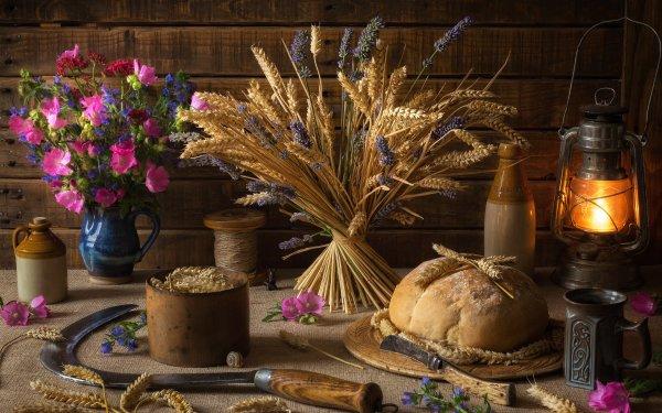 Photography Still Life Bread Wheat Fall Lantern Flower HD Wallpaper | Background Image