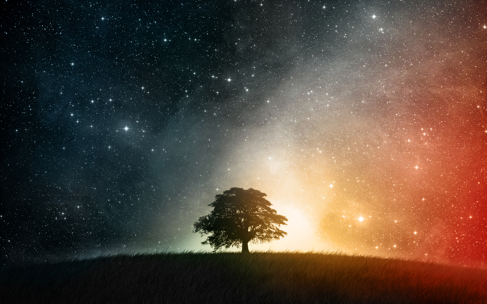 Aarde - A Dreamy World  - Cgi - Landschap - Veld - Gras - Lucht - Light - Stars - Color - Boom - Cosmos - Space Achtergrond