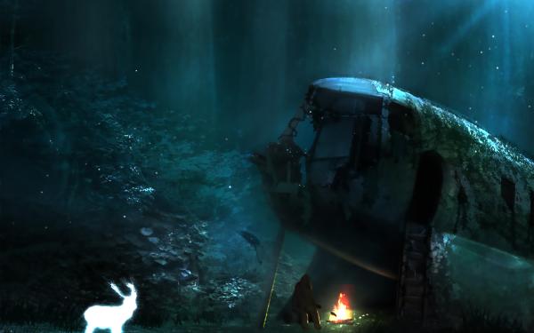 Anime Original Campfire Deer Spirit Light Night HD Wallpaper | Background Image