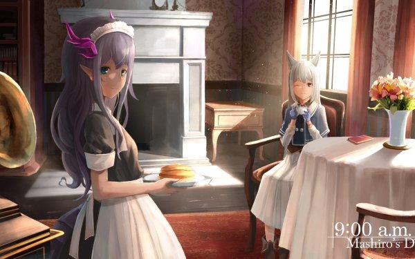 Anime Original Maid Dress Nekomimi Flower Window Table Chair HD Wallpaper | Background Image