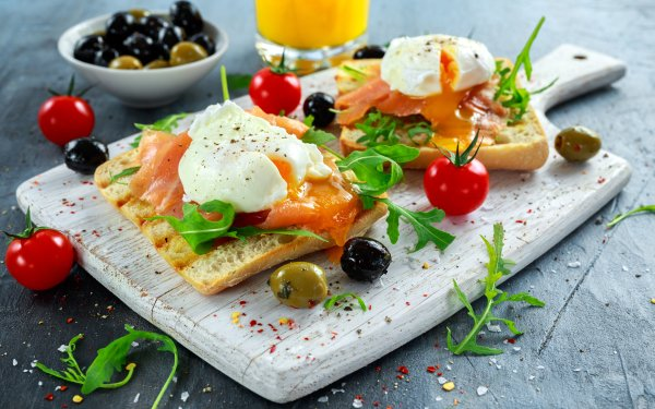 Alimento Bodegón Toast Salmon Tomate Olive Huevo Fondo de pantalla HD | Fondo de Escritorio