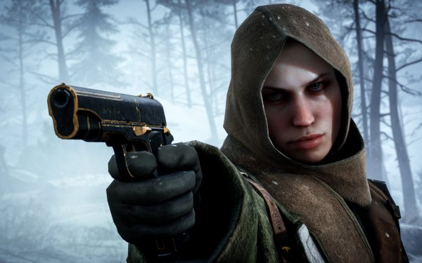 Jeux Vidéo Battlefield 1 Battlefield Woman Hood Blue Eyes Hiver Pistolet Handgun Fond d'écran HD | Arrière-Plan