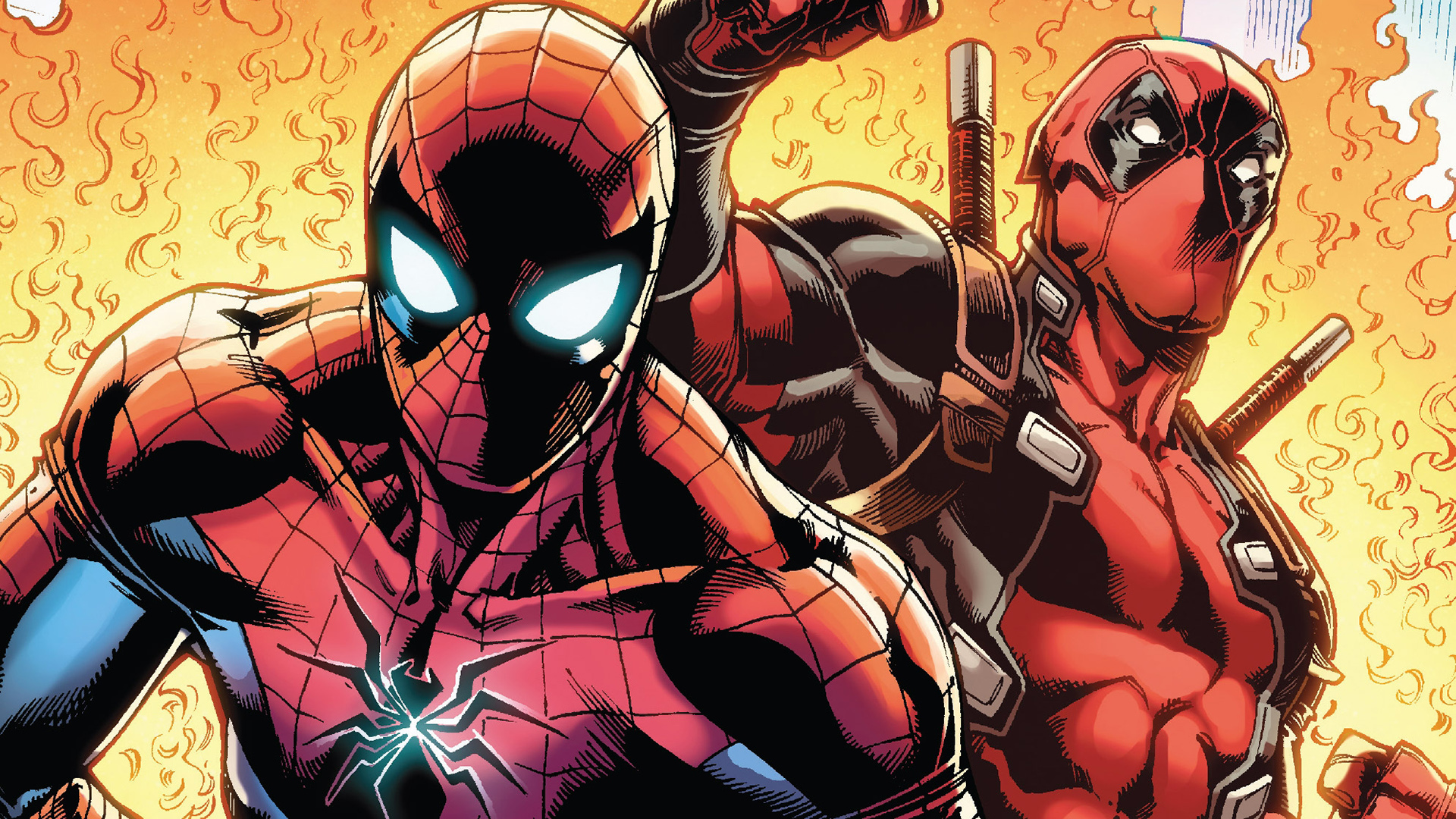 spiderman and deadpool full hd wallpaper and background